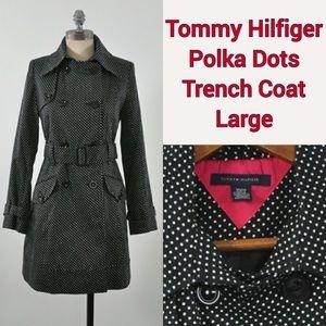 Tommy Hilfiger Trench Coat Black Polka Dot
